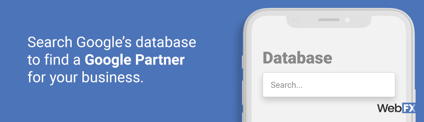Search Google's database to find a Google partner