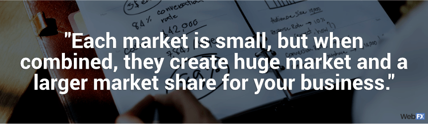 each market is small, but when combined, they create huge market and a larger market share