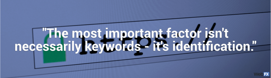 the most important factor isn't keywords, it's identification