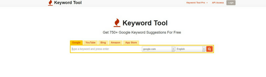 screenshot of keywordtool.io home page