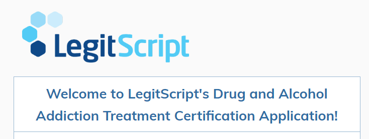 legitscript certificaiton on website