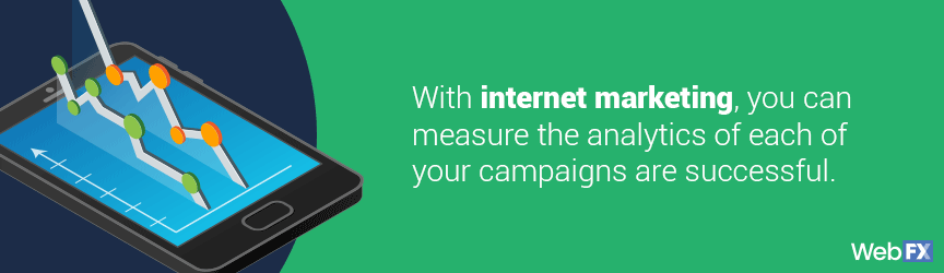 With Internet marketing, you can measure the analytics of each campaign to see the effectiveness of online marketing