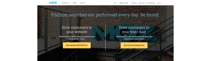 The homepage of Moz