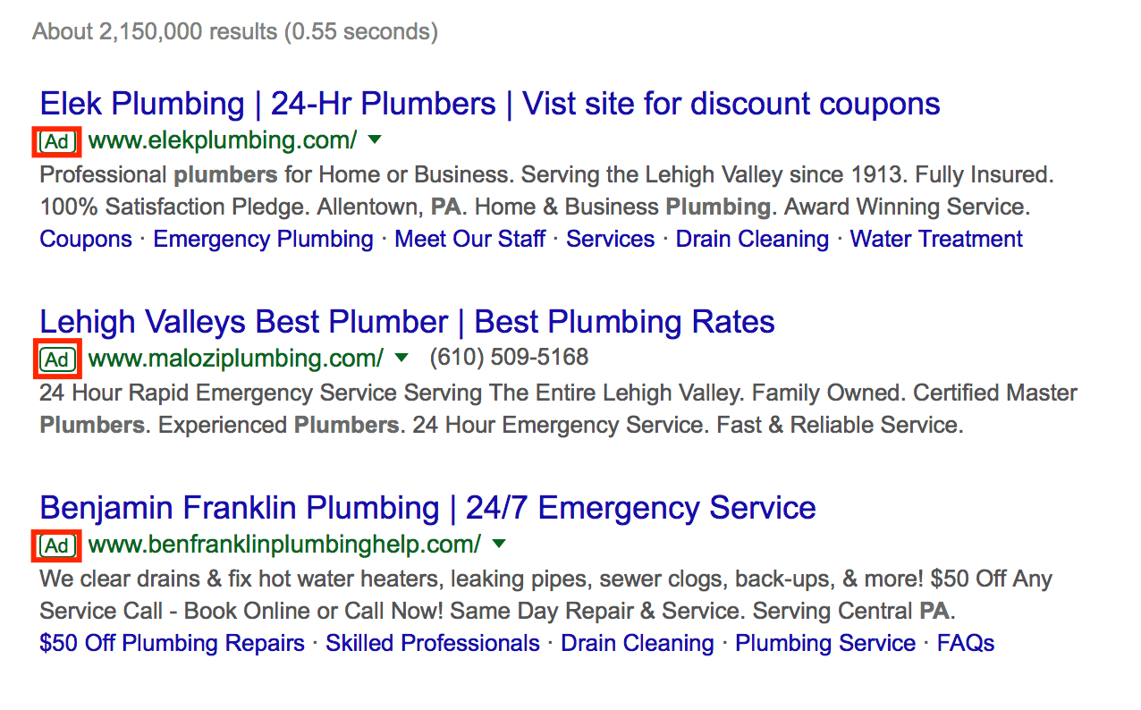 An example of paid ads on Google