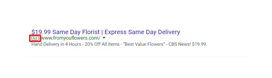 An example of a PPC ad for a florist