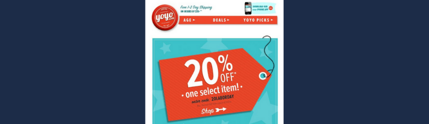 A promotional email example from YoYo.com
