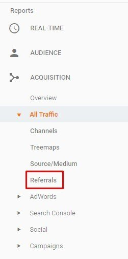 referrals tab in google analytics