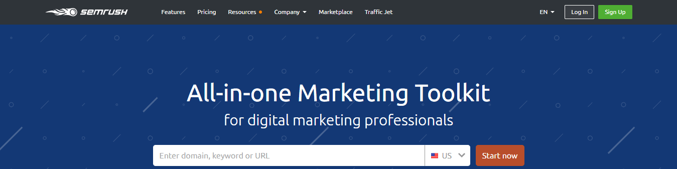 screenshot of semrush home page