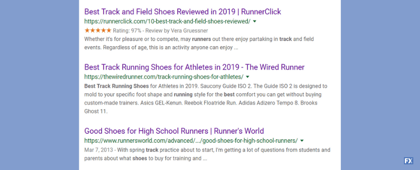 Example of competitor analysis in search results when planning SEO campaign