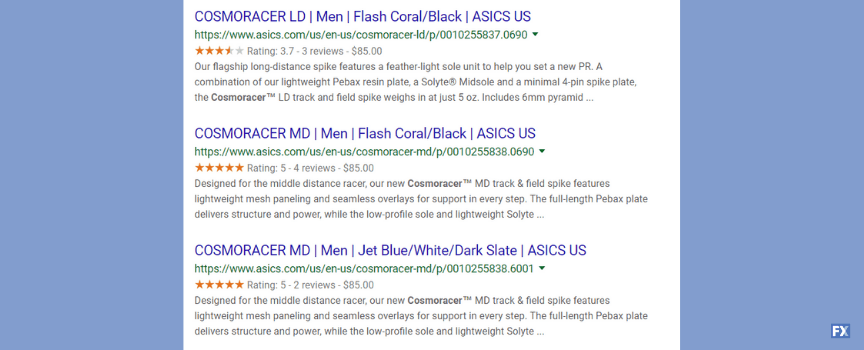 An example of search results for competitor analysis when planning SEO strategy