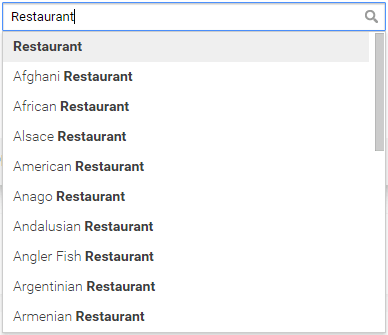 Suggested restaurant categories