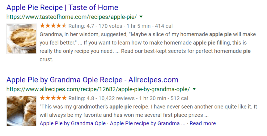 An example of how structured data appears in search results