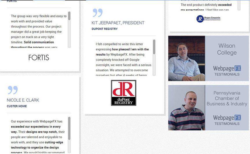 9 marketing strategies to increase businessscreenshot of webfx testimonials page