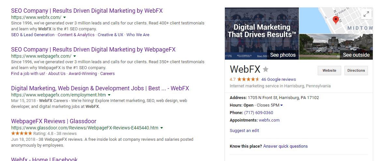 branded vs non branded keywordswebfx search results