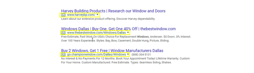 An example of PPC advertisements for the keyword window manufacturers dallas