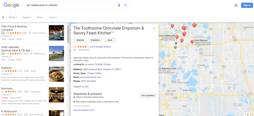 Local SEO search results example for Orlando FL