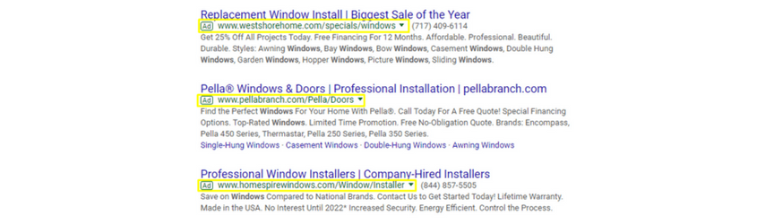 An example of PPC ads for the keyword harrisburg door and window installer