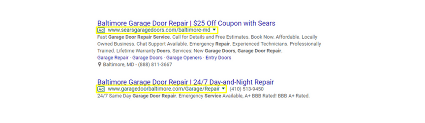 An example of PPC ads for the keyword garage door repair in baltimore