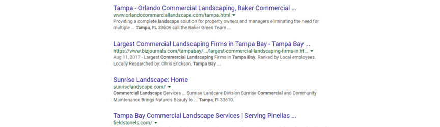 An example of organic search listings for the keyword commercial landscaping tampa fl