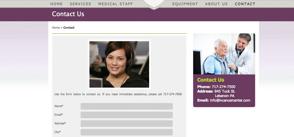 Lebanon Valley Cancer Center Website Screenshot