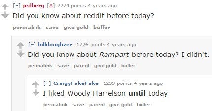 Woody Harrelson Reddit Comment 3