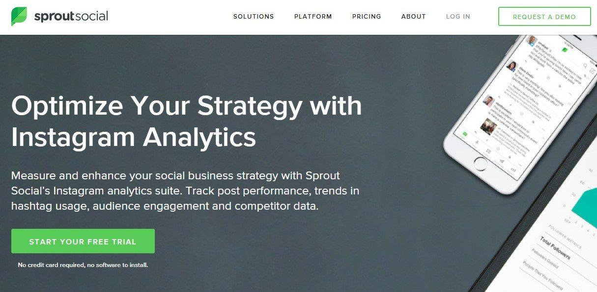 screenshot of sprout social page