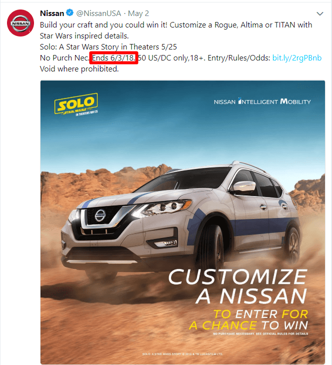 An example of a Twitter ad with a deadline
